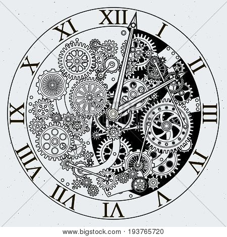 Watch parts. Clock mechanism with cogwheels. Vector illustrations. Gear of clock with cogwheel mechanism