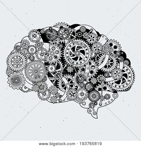 Clock mechanism in human brain. Different cogwheels of steel. Vector hand drawn illustrations brain mechanism, gear and cogwheel in head