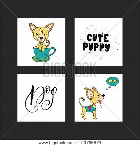 Collection of illustrations with cute dogs and handdrawn lettering quotes. Vector cards for kids and for all who love dogs.