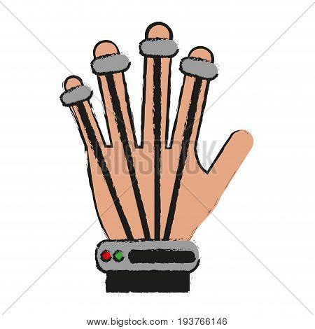 hand movement sensors virtual reality gadget icon image vector illustration design