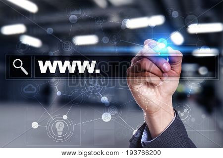Search bar with www text. Web site, URL. Digital marketing. Business, internet and technology concept.