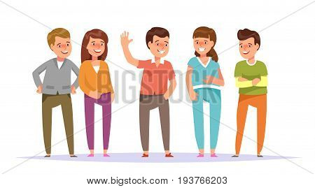 Vector illustration group smiling young people friends staning colorful clothes isolated white background. Cartoon style