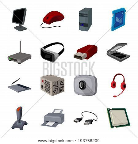 Personal computer accessories set icons in cartoon design. Big collection of personal computer accessories vector symbol stock illustration