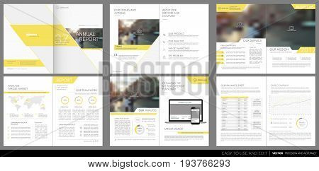 Design annual report, vector template brochures, flyers, presentations, leaflet, magazine a4 size. Yellow geometric elements on a white background. stock vector