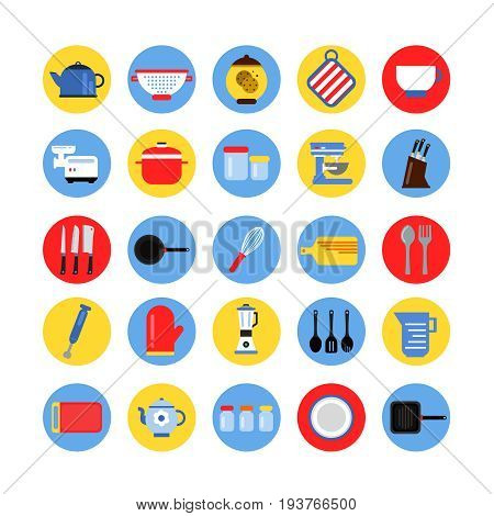 Round icon set of kitchen tools in colored circles. Vector collection. Kitchen collection tools in colored round illustration