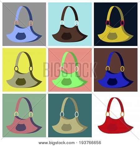 assembly of flat icons Handbag business fashion