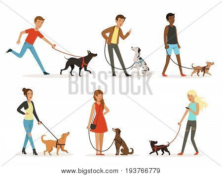 Animal friendship. Happy people walking with funny dogs. Illustrations in cartoon style dog and man, happy dogs with people