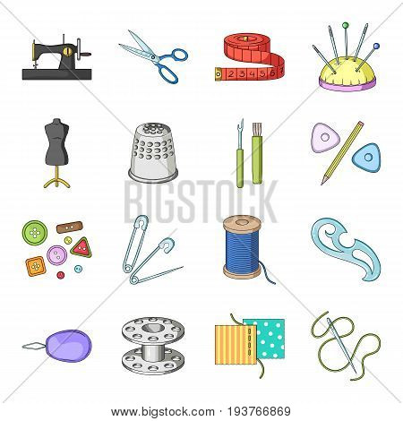 Scissors, thimble, sewing machine and other items for tailoring.Sewing Or Tailoring Tools Kit set collection icons in cartoon style vector symbol stock illustration .