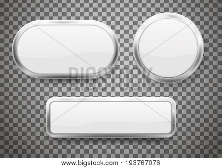 Set of Buttons with chrome frame isolated on transparent background. Vector illustration. Eps 10.