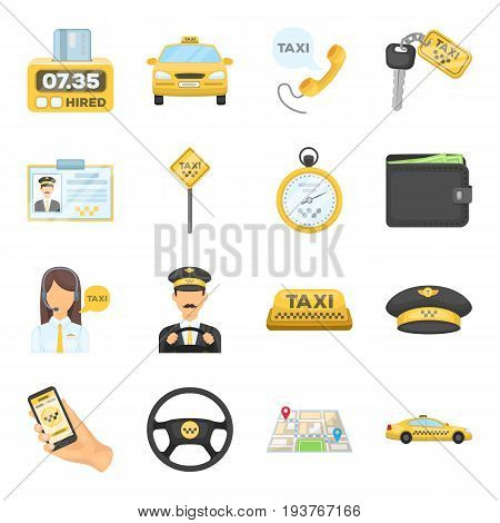 Parking, dispatcher, taxi driver are all for taxi service. Taxi set collection icons in cartoon style vector symbol stock illustration.