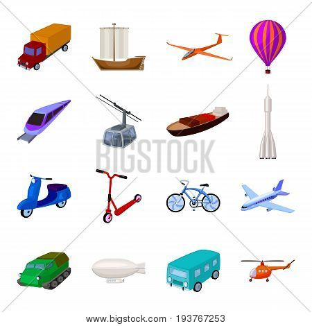 Yacht, funicular, metro transport for the transportation of passengers and cargo. Transport set collection icons in cartoon style vector symbol stock illustration .