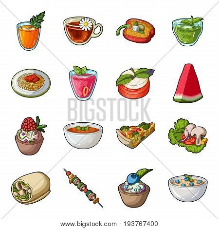 Juice, pizza, berries are vegetarian dishes.Vegetarian Dishes set collection icons in cartoon style vector symbol stock illustration .