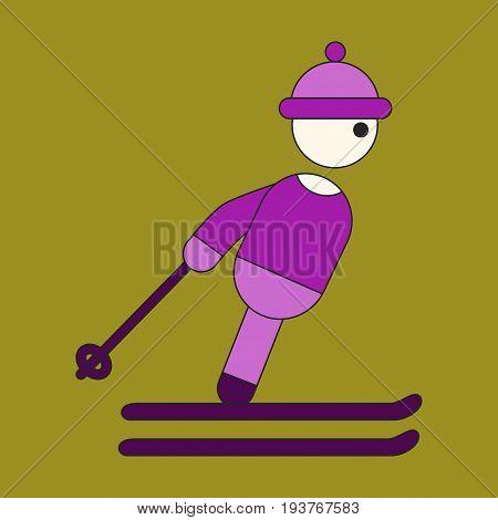 Icon in flat design skier business fashion