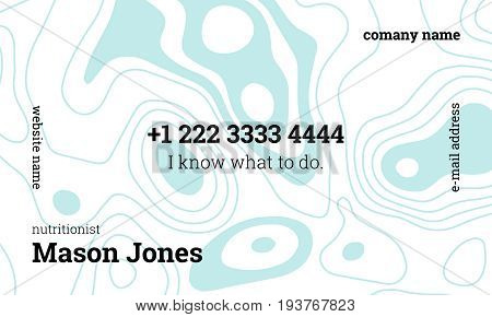 White and blue business card template for nutritionist. US standard size 3.5x2 in. With bleed size 0.125 in. Vector. Minimal and easy style. Abstract organic pattern. A concept for health workers.