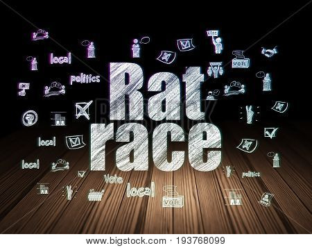 Politics concept: Glowing text Rat Race,  Hand Drawn Politics Icons in grunge dark room with Wooden Floor, black background