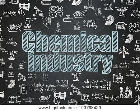 Industry concept: Chalk Blue text Chemical Industry on School board background with  Hand Drawn Industry Icons, School Board