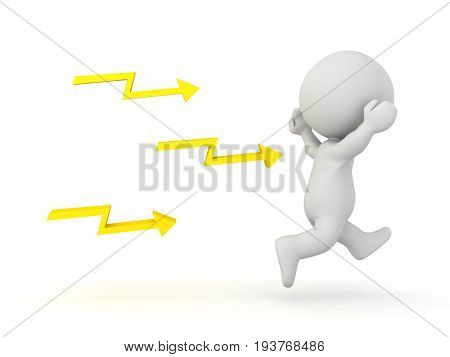 3D Character Being Chased By Lightning