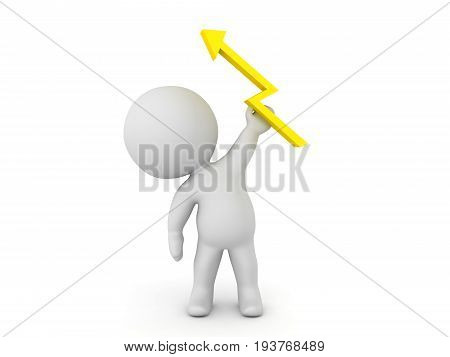 3D Character Holding A Lightning Bolt In His Hand