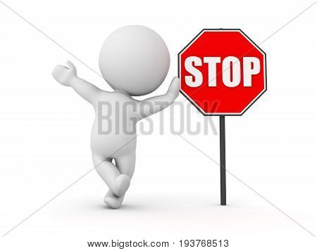 3D Character Waving And Leaning On Red Stop Sign