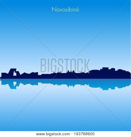 Detailed Vector skyline of Novosibirsk with reflection. Russia