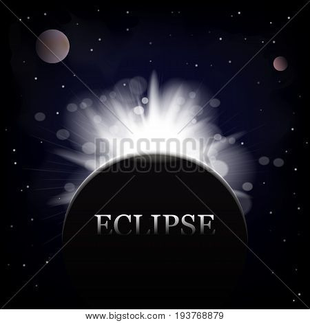 Dark abstract background with a solar eclipse. Vector illustration. Eps 10.