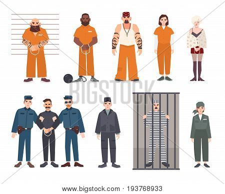 Colorful collection of male and female prisoners. Arrested men and women set. Flat vector illustration