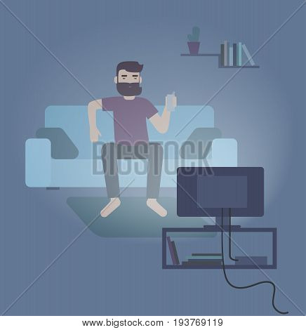 Colorful vector illustration featuring man sitting on a sofa and watching TV at night. Flat vector illustration