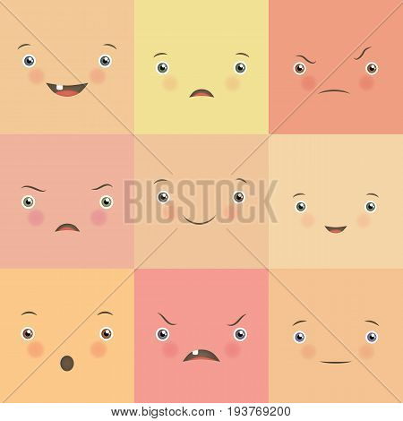Emotion flat set. Cute square faces. Collection of mood representation, facial expressions, smile funny and angry, physiological chart. Flat style vector illustration