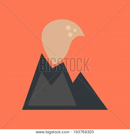 flat icon on stylish background nature volcano erupting