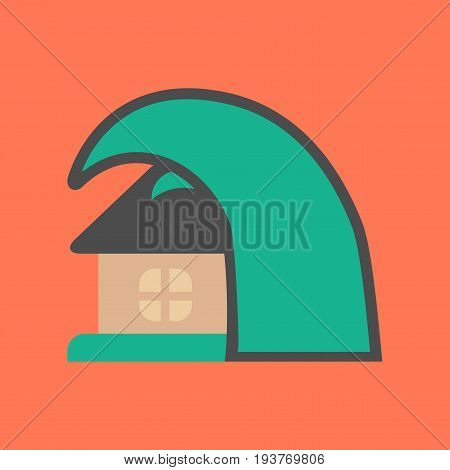 flat icon on stylish background nature tsunami house