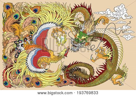 Chinese dragon and phoenix feng huang playing with a pearl ball . Vector illustration
