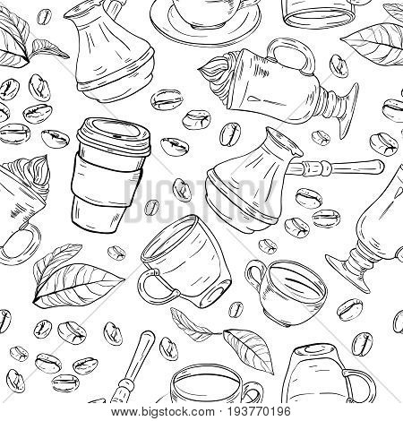 Seamless coffee background with branch of coffee and coffee beans. Hand drawn illustration in sketch style.