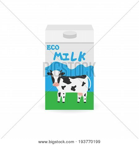 Packaging of milk. Milk box. Pack of milk. Natural organic product isolated on background. Vector illustration. Eps 10.