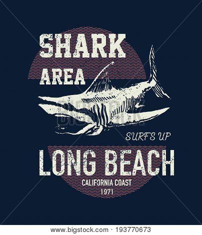 T shirt print design shark vintage stamp keep calm and swim faster printing and badge applique. Vector illustration.