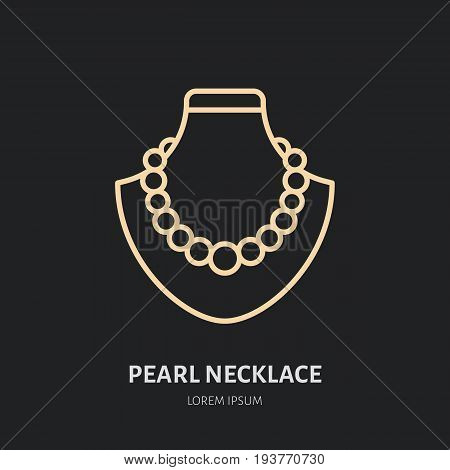 Pearl necklaces on dummy illustration. Jewelry flat line icon, jewellery store logo. Jewels accessories sign.
