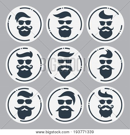 Monochrome hipsters faces set with different beards, glasses, haircuts, mustaches. Silhouettes, avatars, labels Vector illustration