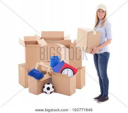 Young Post Delivery Woman Holding Carboard Box Isolated On White