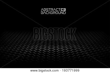 Black hexagonal background. Vector illustration. Dark Background Vector. Honeycomb, Hexagon, black .