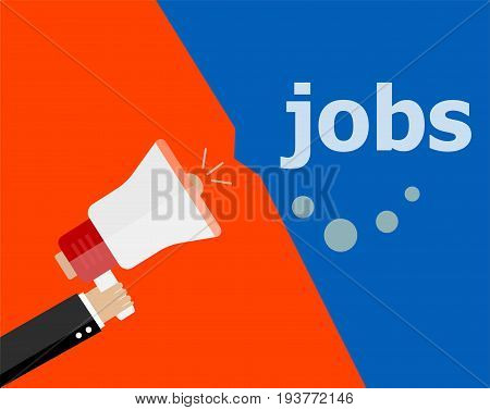 Flat Design Business Concept. Jobs Digital Marketing Business Man Holding Megaphone For Website And