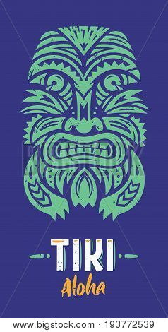 Tiki Totem T-Shirt print. Polynesian tattoo. Vector illustration