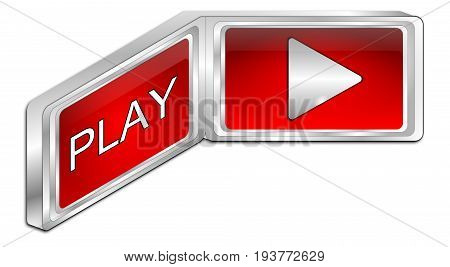 decorative red Play Button - 3D illustration