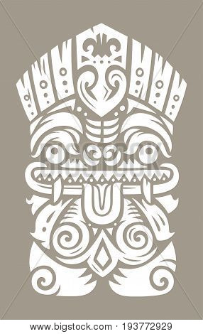 Hawaiian tiki god statue. Polynesian tiki print. Vector illustration