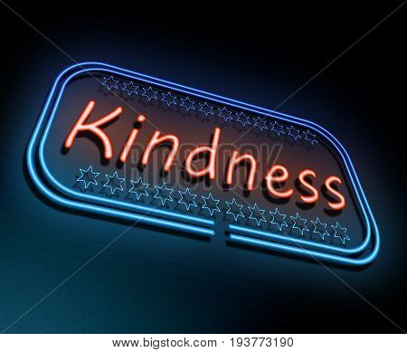 3d Illustration depicting an illuminated neon sign with a kindness concept.
