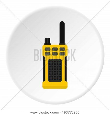 Portable radio transmitter icon in flat circle isolated vector illustration for web