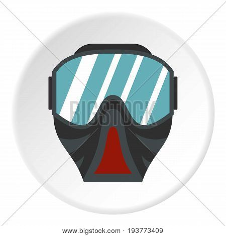 Paintball mask icon in flat circle isolated vector illustration for web