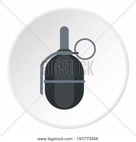 Hand paintball grenade icon in flat circle isolated vector illustration for web