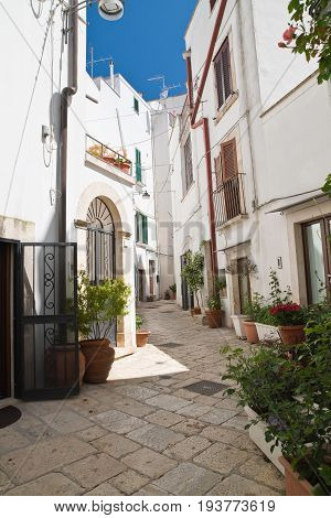 Characteristic alleyway of Noci. Puglia. Southern Italy.