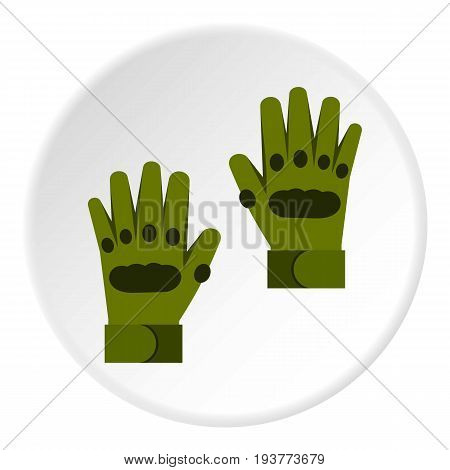 Pair of paintball gloves icon in flat circle isolated vector illustration for web