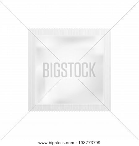 Realistic White Blank template Packaging Foil wet wipes. Food Packing Coffee Salt Sugar Pepper Spices Sweets. isolated on white background. Vector illustration. Eps 10.