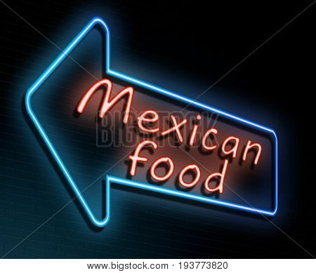 3d Illustration depicting an illuminated neon sign with a Mexican food concept.
